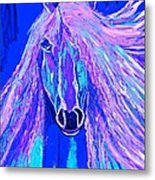 Horse Abstract Blue And Purple Metal Print
