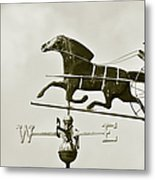 Horse And Buggy Weathervane In Sepia Metal Print