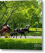 Horse And Carriage Central Park Metal Print