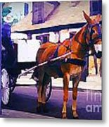 Horse And Carriage In Front Of Lafitte's Blacksmith Shop  Metal Print