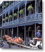 Horse And Carriage In New Orleans Metal Print