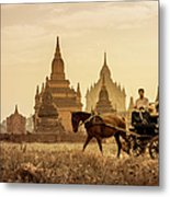 Horse And Carriage Turning By Temples Metal Print