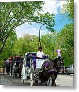 Horse And Carriages Central Park Metal Print