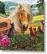 Horse And Cats Metal Print