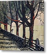 Horse And Fence Metal Print