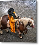 Horse And Rider From Above Metal Print