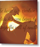 Horse And Rider Silhouette  Metal Print