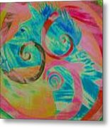 Horse And Spirals In Pink Metal Print