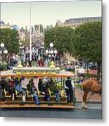 Horse And Trolley Main Street Disneyland 02 Metal Print
