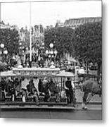 Horse And Trolley Main Street Disneyland Bw Metal Print