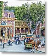 Horse And Trolley Turning Main Street Disneyland 01 Metal Print