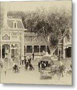 Horse And Trolley Turning Main Street Disneyland Heirloom Metal Print