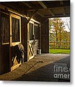 Horse Barn Sunset Metal Print