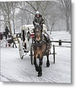 Horse Carriages In Snowy Park Metal Print