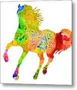Horse Colorful Silhouette Art Print Watercolor Paintig Metal Print