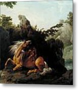 Horse Devoured By A Lion Metal Print