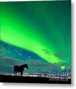 Horse Distant Snowy Peaks With Northern Lights Sky Metal Print