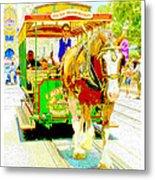 Horse Drawn Trolley Car Main Street Usa Metal Print