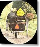 Horse Drawn Vechicles Round Metal Print
