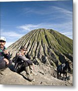 Horse Drivers Near A Volcano At Bromo Java Indonesia Metal Print