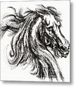 Horse Face Ink Sketch Drawing - Inventing A Horse Metal Print
