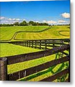 Horse Farm Fences Metal Print