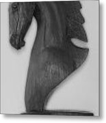 Horse Head Sculpture Black And White Metal Print