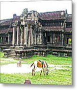 Horse In Front Of Outer Building In Angkor Wat In Angkin Angkor Wat Archeological Park-cambodia Metal Print
