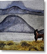Horse Of The Mountains With Stained Glass Effect Metal Print