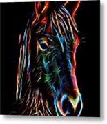 Horse On Black Metal Print