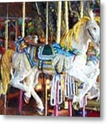 Horse On Carousel Metal Print