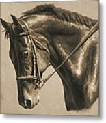 Horse Painting - Focus In Sepia Metal Print by Crista Forest