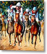 Horse Race - Palette Knife Oil Painting On Canvas By Leonid Afremov Metal Print