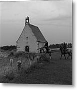 Horse Riders By The Church Metal Print