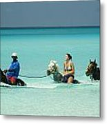 Horse Riders In The Surf Metal Print
