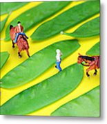 Horse Riding On Snow Peas Little People On Food Metal Print
