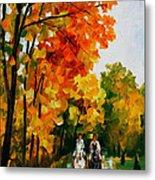 Horseback Stroll - Palette Knife Oil Painting On Canvas By Leonid Afremov Metal Print
