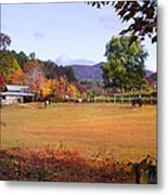 Horses And Barn In The Fall 4 Metal Print