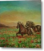 Horses In The Field With Poppies Metal Print