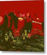 Horses In The Spanish Pyrenees Metal Print