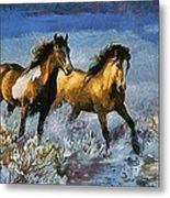 Horses In Water Metal Print