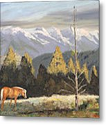 Horses Of The Tetons Metal Print