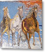 Horses On The Beach Metal Print by Vicky Tarcau