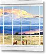 Horses On The Storm Large White Picture Window Frame View Metal Print