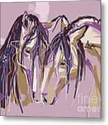 horses Purple pair Metal Print