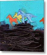 Horses Running On The Pass Metal Print