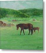 Horses Rural Pasture Western Landscape Original Oil Colorful Art Oregon Artist K. Joann Russell Metal Print