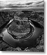 Horseshoe Bend Arizona Monochrome Metal Print