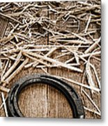 Horseshoe On Barn Floor Metal Print