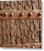 Horseshoes Decorate A Wooden Door, Jama Metal Print